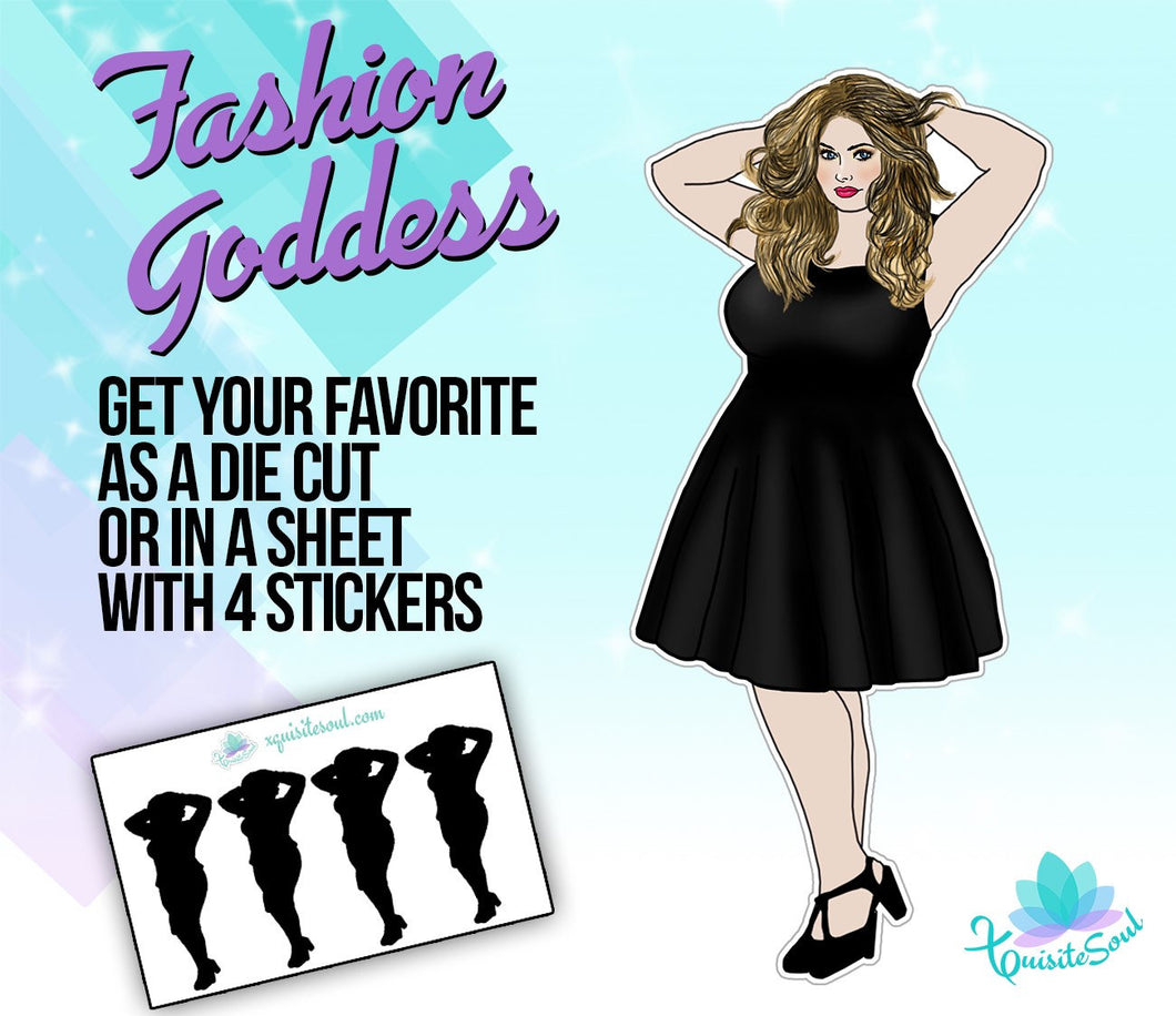 Curvy Blonde Hair Doll Stickers
