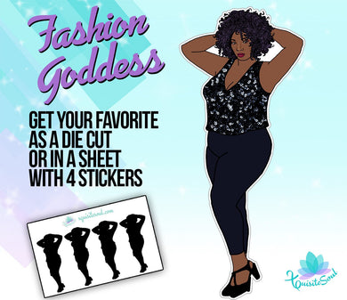 Curvy Sparkly Black Girl Doll Stickers