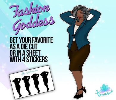 Curvy Grey Haired Mature Doll Stickers