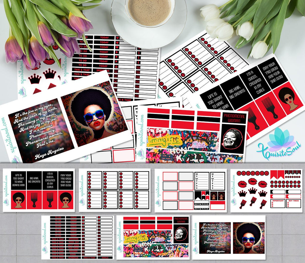 Phenomenal Woman African American Weekly Kit for Erin Condren