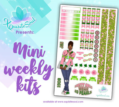 Salmon Pink and Apple Green Sorority Stickers African American Mini Weekly Kit