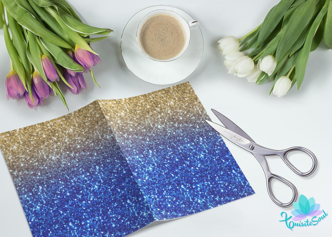 Royal Blue and Gold Glitter Vellum Dashboard