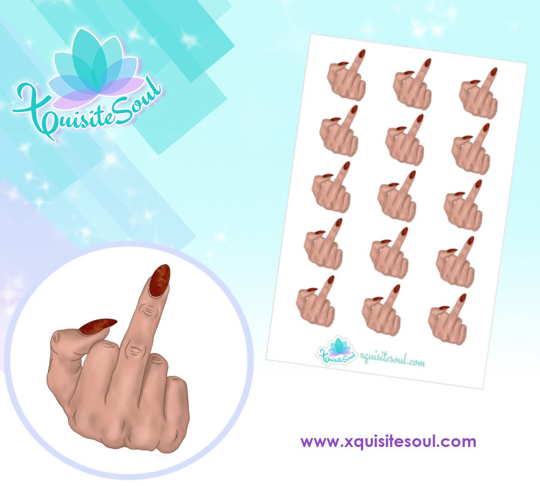 Middle Finger Light Skin Stickers