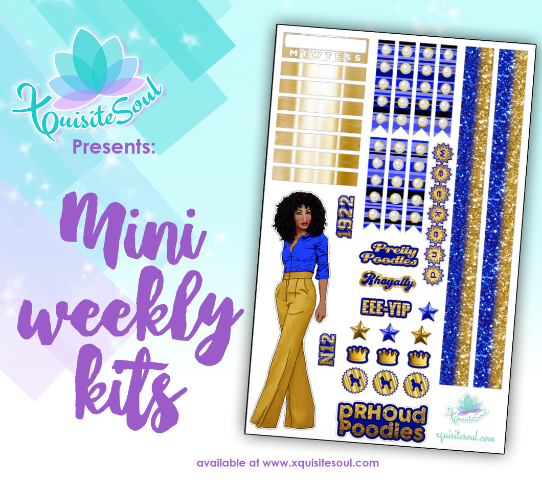 Royal Blue and Gold 2.0 Sorority Stickers African American Mini Weekly Kit