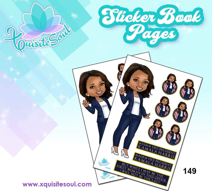 Kamala Harris Vice President-elect XQuibi Sticker Book Sheet