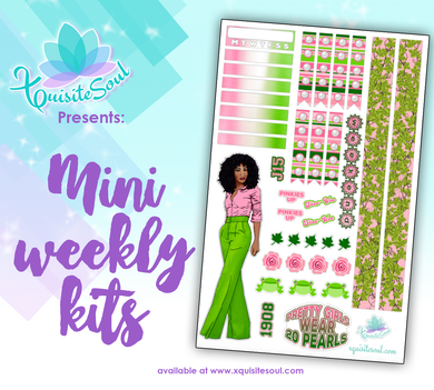 Salmon Pink and Apple Green Sorority Stickers 2.0 African American Mini Weekly Kit