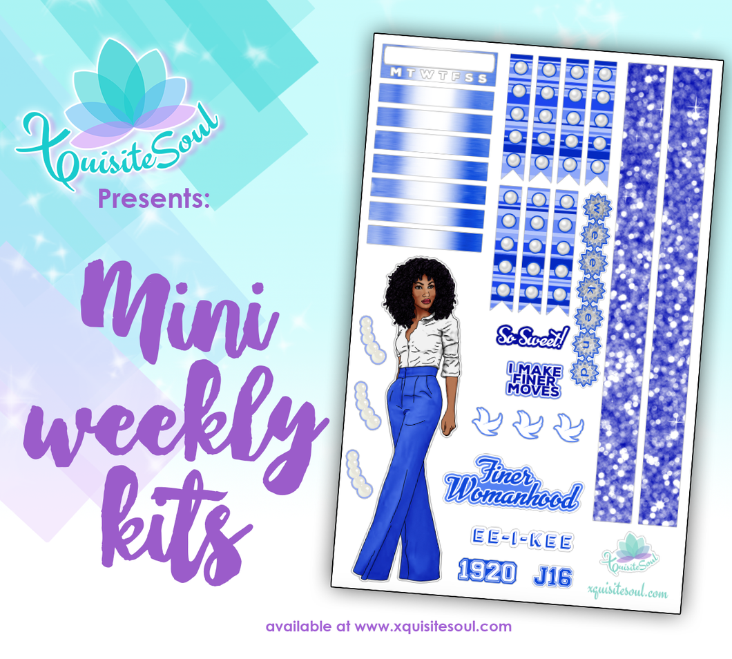 Royal Blue and White Sorority Stickers 2.0 African American Mini Weekly Kit