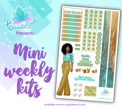 Teal and Gold Sorority Stickers African American Mini Weekly Kit