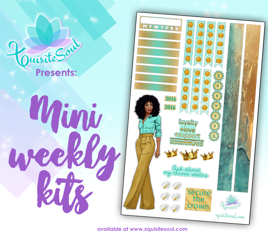 Teal and Gold 2.0 Sorority Stickers African American Mini Weekly Kit
