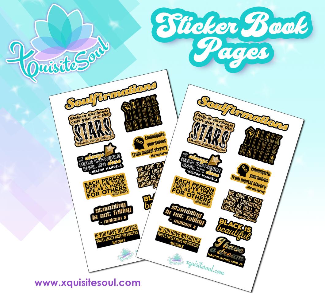 Black History Month Mini Soulfirmations Sticker Book Sheet