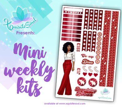Crimson Red and Cream Sorority Stickers African American Mini Weekly Kit