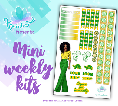Green and Yellow Sorority Stickers African American Mini Weekly Kit