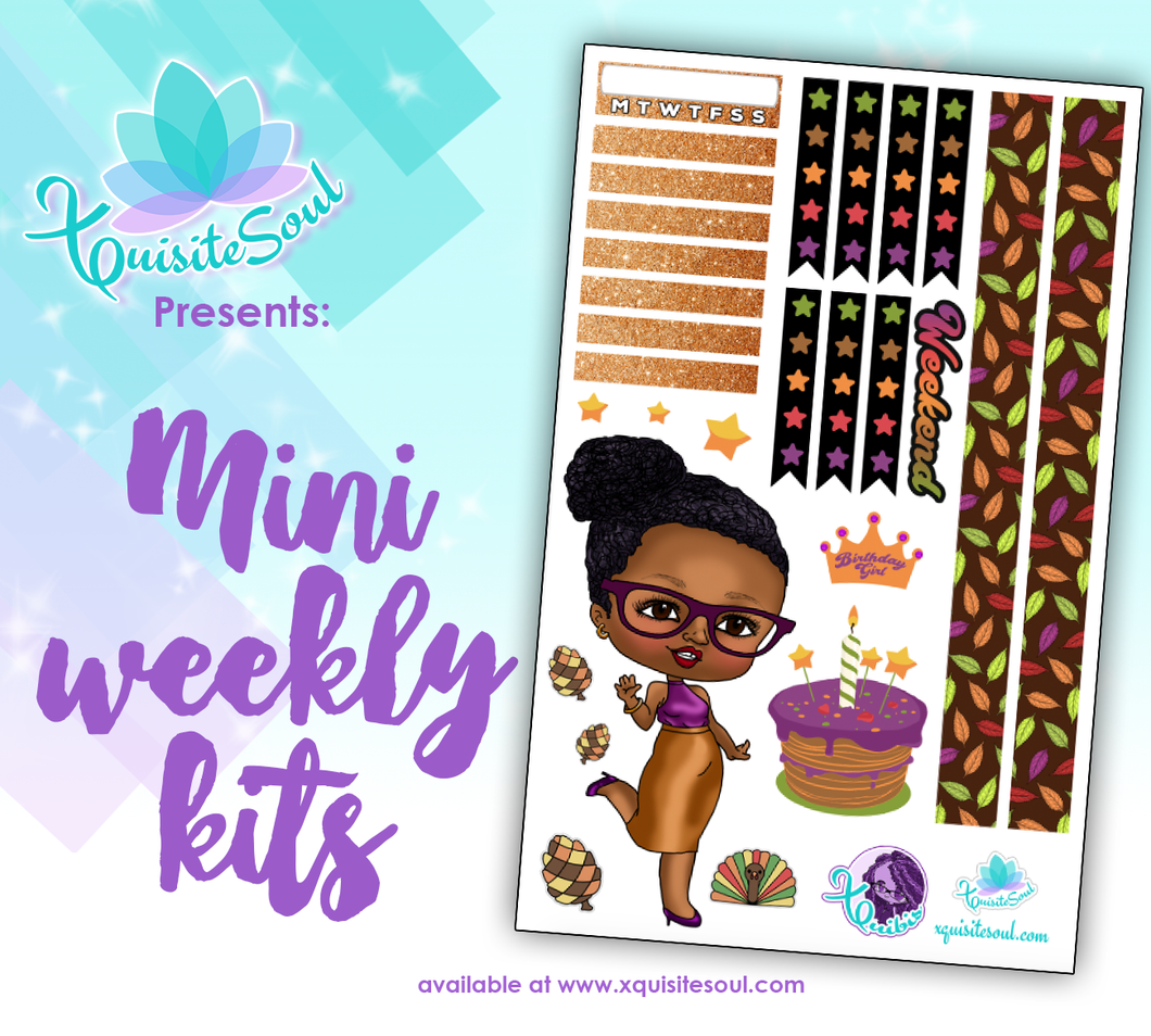 Happy Birthday in Thanksgiving African American XQuibi Mini Weekly Kit
