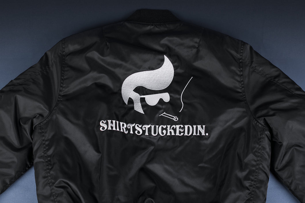 SHIRTSTUCKEDIN PLEASE SMOKING BOMBER JACKET