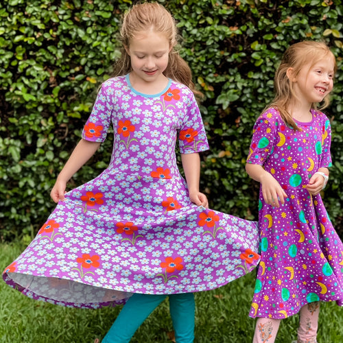Dress with pockets flower orchid Scandi kids clothes