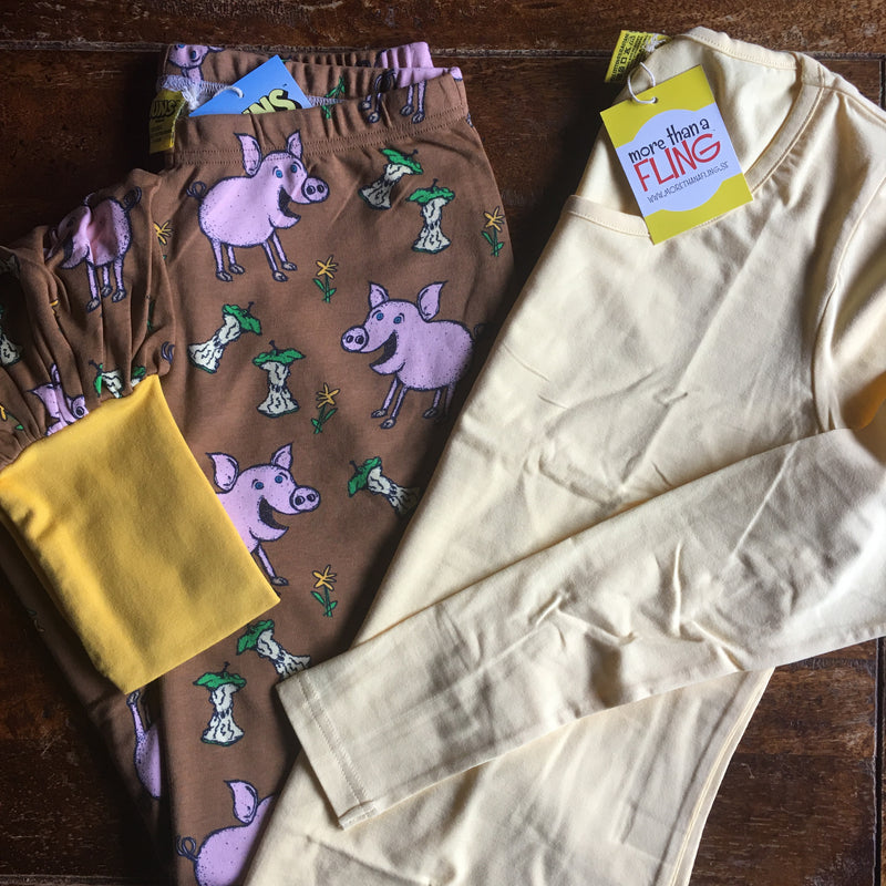 Ladies long sleeved yellow shirt Organic MTAF and pants with pigs