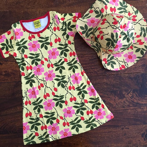 Scandi kids dress rosehip DUNS Sweden matching sun hat