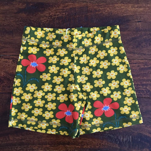 Floral scandi kids shorts olive green duns