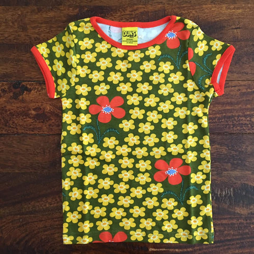 Floral kids t-shirt by scandinavian duns in olive green