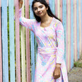 Ladies dress pink with Mumbai flower market print Scandinavian Moromini