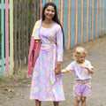 Match with kids Ladies dress pink with Mumbai flower market print Scandinavian Moromini