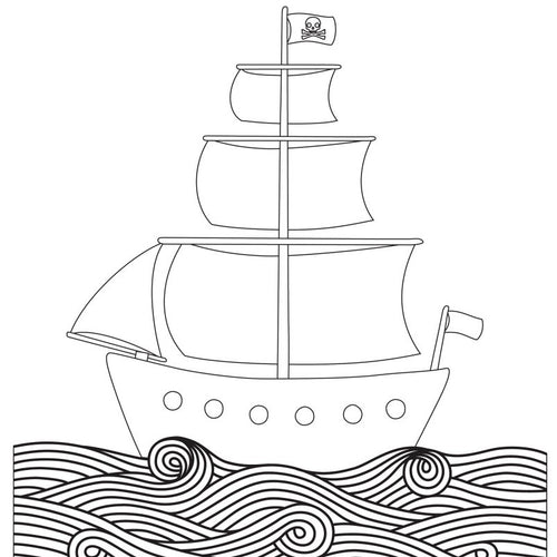 Free colouring pages printable download Pirate ship for kids