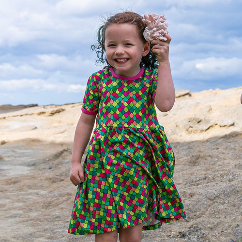 Pink cosmos rainbow scales kids dress Coddi and Womple