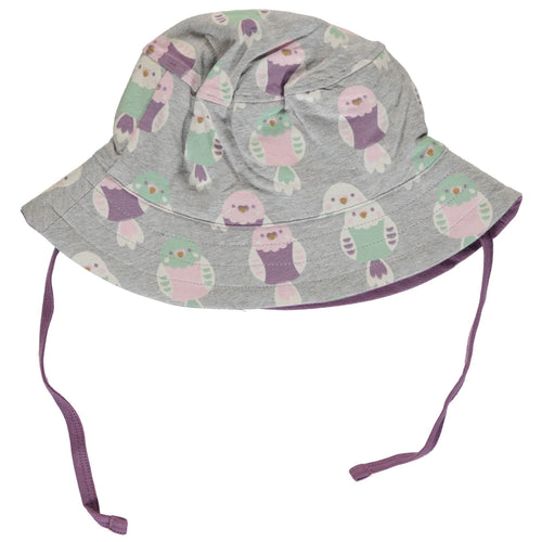 Kids sun hat with budgie birds, Maxomorra