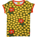 Scandi kids Floral kids t-shirt by scandinavian duns in olive green