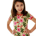 Floral scandi kids dress rosehip DUNS Sweden