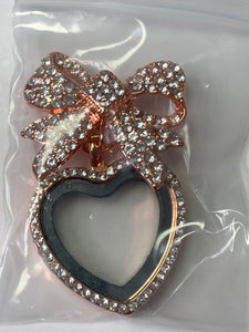 Heart Bow Gem Pin/Necklace Locket Rose Gold