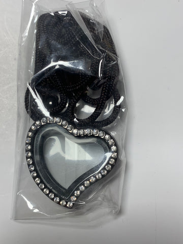 Black Heart Gem Locket with Stones