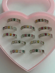 Sterling Silver Natural Tourmaline adj. rings
