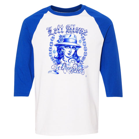 "Left Alone ""Te Quiero Ver""Baseball Shirt Blue Sleeve"
