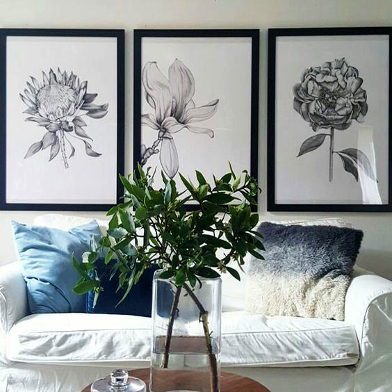 Paper and style co set of 3 botanical prints