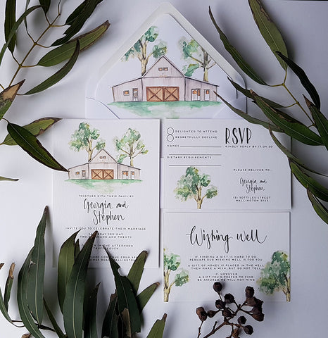 barn wedding invite,custom design
