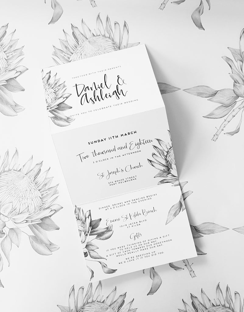 paper and style co. Trifold Protea Wedding Invite