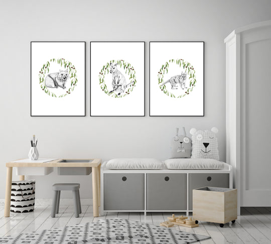 Aussie Animals-Circular Gum Leaves-Set of 3