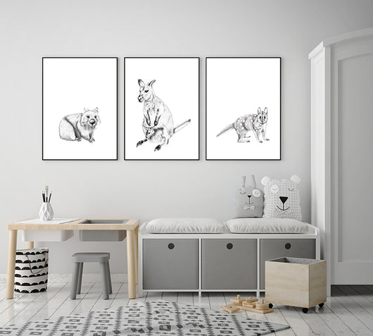 Set of 3 pencil drawn Australian animals, wallaby, spotted quoll and wombat. Prints for kids bedroom display