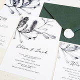 BANKSIA/Wedding Invites/GREEN or BLACK & WHITE