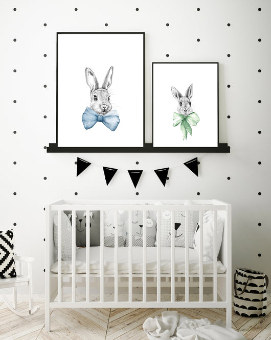 Bunnies in bows art prints
