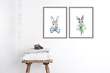 Bunnies in bows art prints for nursery or kids room