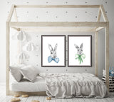 Bunnies in bows set of 2 prints