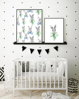 Bunnies in bows pattern print and green watercolour bow art print