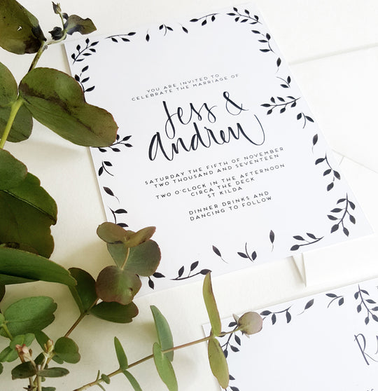 Black Symetrical Leafy Invite Suite