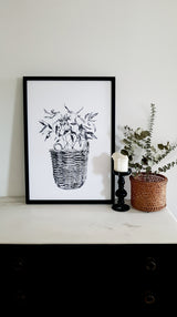 ART PRINTS Cane Basket/Gum Leaf / Basket/Eucalyptus