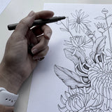 CHRYSANTHEMUM BUNCH-Watercolour and Black and White Print