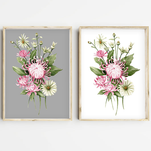 Chrysanthemum watercolour print, perfect Mothers day gift.