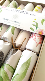 Hand painted Australian Botanical wrap used to create Christmas Crackers