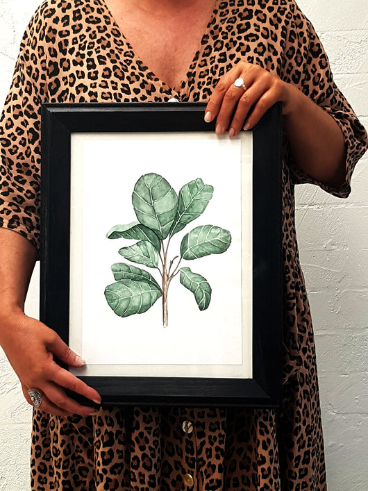 Fiddle Fig Leaf watercolour